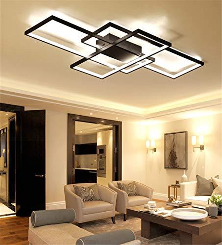 LED-Deckenleuchte Wohnzimmer Lampe dimmbar mit Fernbedienung 3000K-6000K, New Entwurf Unregelmäßige Rechteckige Deckenlampe Acryl Küche Schlafzimmer Energiespar dekorative Lampen,Schwarz,90*50CM/80W