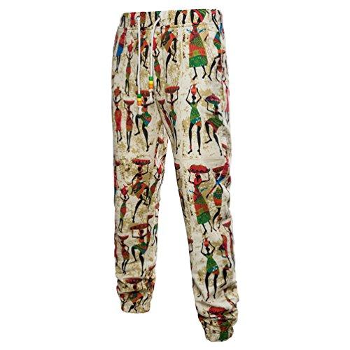 Dexinx Uomini Vivace Stile Etnico Pantaloni di Stampato Stringati Primavera Pantalone Retro Casual Beige XL