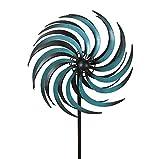 zeitzone Doppelwindrad Sonne Windrad doppelt Gartenstecker Windspiel Petrol Schwarz 175cm