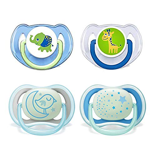 Philips Avent Schnuller Day & Night // 6-18 Mo // Neutral Mix // 4er Set // inkl. aufsteckbarer Hygienekappe