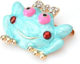 N/W Blue Enamel Lovely Frog Brooches Women Alloy Rhinestone Bowknot Animal Party Casual Brooch Pins Gifts