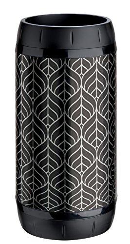 Meliconi Portaombrelli Lusso lamiera litografata Art Deco Argento e Nero e anelle antigraffio in plastica nera, 25x 25 x 50 cm. Made in Italy