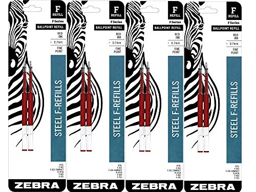Zebra F-Series Ballpoint Stainless Steel Pen Refill, Fine Point, 0.7mm, Red Ink, 8-Count