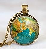 Globus-Halskette, Erdkugel Anhänger, Globus Art Anhänger, Lehrer-Geschenk, Weltreise-Abenteurer, Weltkarte Globus Schmuck