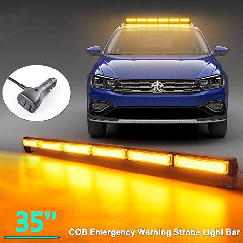 14 Blinkende Stroboskop-Modi LED Warnleuchte Orange Blitzleuchte Rundumleuchte Auto Lichtleiste für LKW Dach oben Gelb Warnlicht