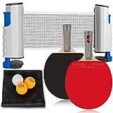 卓球セット 卓球ラケット ピンポン球 ポータブル 伸縮ネット 調整可能 ラケット テニスネット 卓球台 収納バッグ付き 卓球用品 屋内 競技 自宅 アウトドア レジャー 職場 軽量 コンパクト