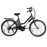 "Macwheel 26"" Electric Bike, 250W Brushless Motor, Removable 36V/10Ah Lithium-ion Battery, Shimano 6-Speed Gear, City Electric Commuter Bicycle for Adults (LNE-26)"
