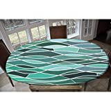 Elastic Polyester Fitted Table Cover,Stained Glass Pattern with Wavy Lines and Mosaic Abstract Geometric Composition Decorative Oblong/Oval Elastic Fitted Tablecloth,Fits Tables up to 48