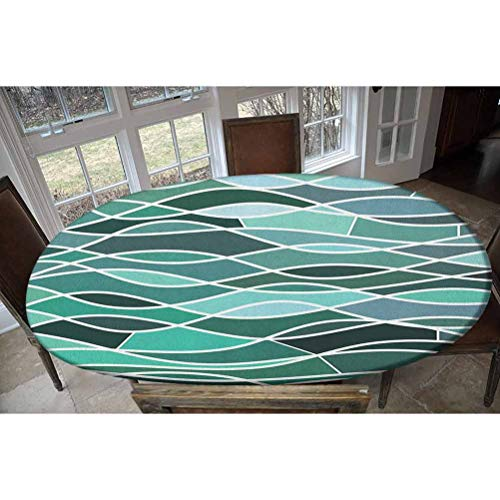 Elastic Polyester Fitted Table Cover,Stained Glass Pattern with Wavy Lines and Mosaic Abstract Geometric Composition Decorative Oblong/Oval Elastic Fitted Tablecloth,Fits Tables up to 48' W x 68' L