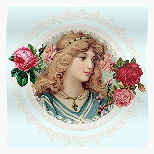 Cameo Garland Shabby Woman Victorian Girl Chic Lady Beauty in Vintage Flower Wreath Pretty I Fsgcuteskull-Impressive and Trendy Poster Print Decor Wall or Desk Mount Options
