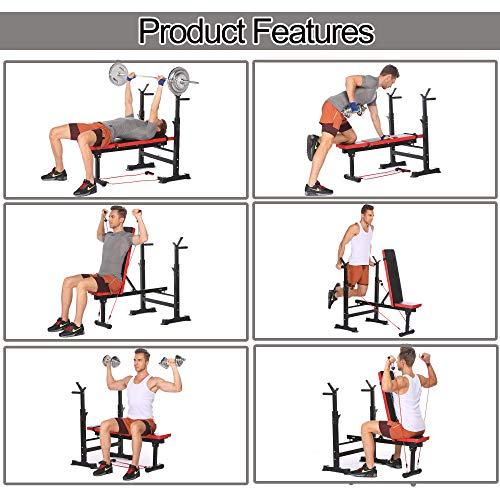 Adjustable Folding Weight Bench, Strength Training Bench for Full Body Workout, Fitness Barbell Rack and Weight Bench for Home Gym (Red)