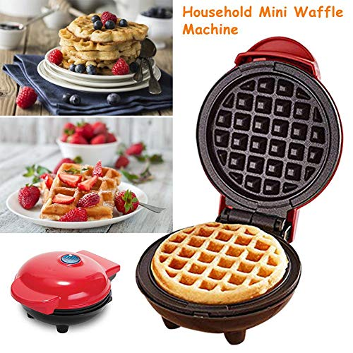 New The Household Mini Waffle Maker Machine for Individual Waffles, Hash browns, other on the go Breakfast, Lunch, or Snacks – Red