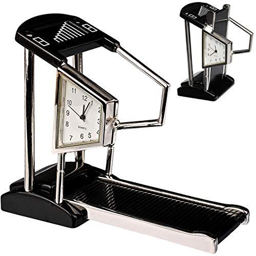 alles-meine.de GmbH kleine - Tischuhr / Miniatur - Uhr - Fitnessgerät / Laufband - aus Metall - 10 cm - batteriebetrieben - Analog - Batterie - schwarz - Zahlen Stehuhr / Standuh..