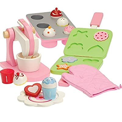 CP Toys All Wood Pretend Play Baking Set with Mixer, Cookie Press, and Cupcakes / 16 pc. by ConstructivePlaythings