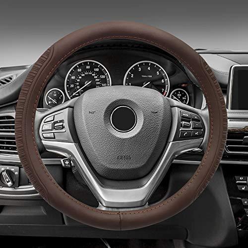 NICEASY 15 inch Sport Style Dark Brown Leather Steering Wheel...