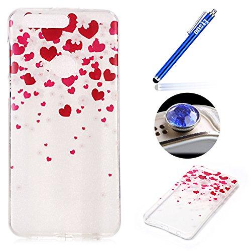 Huawei Honor 8 Coque, Etsue pour Huawei Honor 8 Vogue Gel Housse étui de téléphone mobile ,TPU Silicone Matériau Transparente Ultra Mince Supérieur Semi Transparent Doux Coque avec coloré Motif pour Huawei Honor 8 + Gratuit 1 x Bleu stylet + 1 x Bling poussière plug (couleurs aléatoires) - Coeur coloré