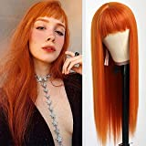 QD-Tizer Orange Color Synthetic Hair Replacement Wigs with Bangs Heat Resistant None Lace Wigs for Fashion Women Cosplay Costume