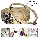 Curtzy 12er-Packung Stickrahmen Holz 15cm Stickringe Stickerei Holzring - einstellbar rund – für DIY Kunsthandwerk