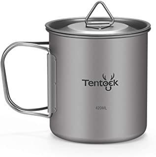 Tentock Titanium Cup Backpacking with Folding Handle 420ml/14.20oz Ultralight Camping Coffee Mug with Lid