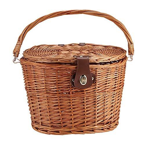 SOOTOP Vintage Weiden Fahrradkorb Fahrrad Frontkorb Weiden Picknickkorb mit Deckel Tragegriff Einkaufskorb mit Klappdeckel & Lederriemen Gehören für Fahrräder Einkaufen Picknicks