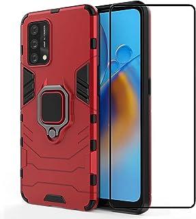 جراب Doao Xiaomi 11T Pro، جراب واقٍ بمسند دائري 360 درجة، مع واقي شاشة من الزجاج المقوى لهاتف Xiaomi 11T Pro - أحمر