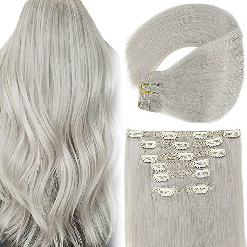 Grey Clip in Hair Extensions Human Hair Vivien 12 inch Full Head Remy Human Hair Clip in Extensions Thick Ends Grey Blonde Hair Extensions 70 Grams 7Pcs
