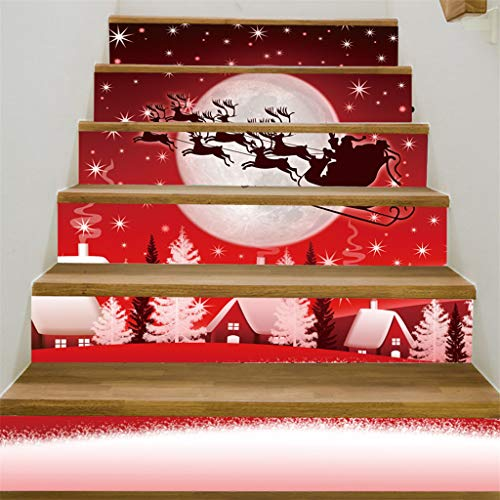 ZFK_Home Christmas 3D Simulation Stair Sticker Waterproof Wall Sticker DIY Home Party Decor Christmas Xmas Pattern Staircase Stair Riser Floor Sticker Festival Holiday Decoration Supplies
