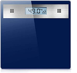 YQSHYP 3.2in Backlight LCD Display, High Accuracy Skidproof Digital Body Weight Bathroom Scale, Electronic Scale With Step-On Technology, Stylish Blue Glass Easy to Clean Design,180kg Capacity