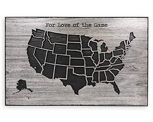 St234tyet Voor de liefde van het spel US Map Mark Stadiums Gedrukt Baseball Pushpin US Sport Kaart Reizen Doelen Voetbal Basketbal Man Cave Bar Decor