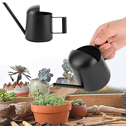 Kamenda GießKanne Klein, 300ml Schwarze Edelstahl Mini GießKanne, Vintage Langmundige Pflanzen-GießKanne, Geeignet für Gartenpflanzen Zimmerpflanzen