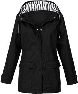 Women Outdoor Coats Solid Rain Jacket Plus Waterproof Hooded Raincoat Windproof Sportswear Outwear E-Scenery