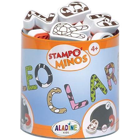 Aladine - Stampo Minos Alphabet Majuscule - Kit Tampons Enfant - Activités Manuelles Fille et Garçon - Encre Lavable - Jouets et Jeux Créatifs - Boîte de Tampons + Grand Encreur Inclus - Dès 4 ans