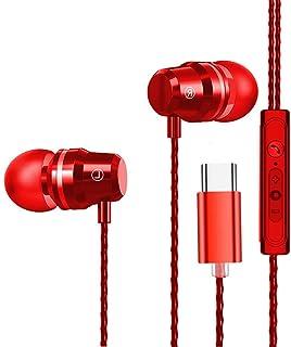 USB C hörlurar, i öronen hörlurar stereo bas brusreducering sport trådbundna hörlurar kompatibel med Huawei P20 Pro/Mate 2...