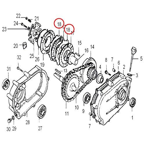 Wiltec Ersatzteil für Ölbadkupplung Benzinmotoren Reibscheibe für 6,5-13 PS