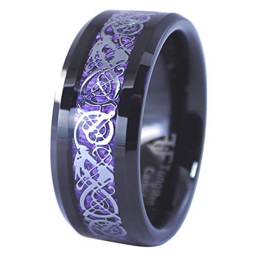 Fantasy Forge Jewelry Black Tungsten Royal Purple Celtic Dragon Ring 8mm Womens Mens Wedding Band Size 14