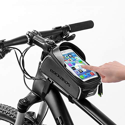Leader Vélo Sacoche Guidon, PU Imperméable Vélo Poche avec Pare-Soleil Et Casque Trou, pour Smartphone 6.0 Pouces Ci-Dessous, Noir
