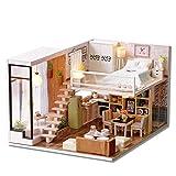 YJF 1:24 Kits de Modelo de casa de muñecas en Miniatura de Madera DIY con LED y Muebles Regalos de cumpleaños de Navidad para Adultos y Adolescentes (Esperando el Tiempo)