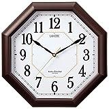 ランデックス(Landex) 掛け時計 電波 アナログ ハイパーエイト 夜間秒針停止 ダークブラウン YW9138DBR