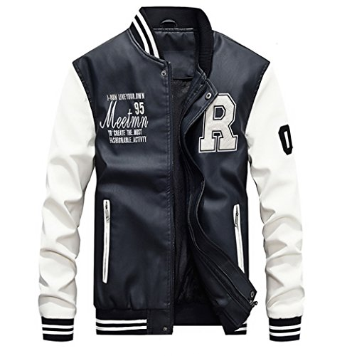 Lavnis Men's Faux Leather Jacket Casual Baseball Stand Collar Slim Fit Coat White L