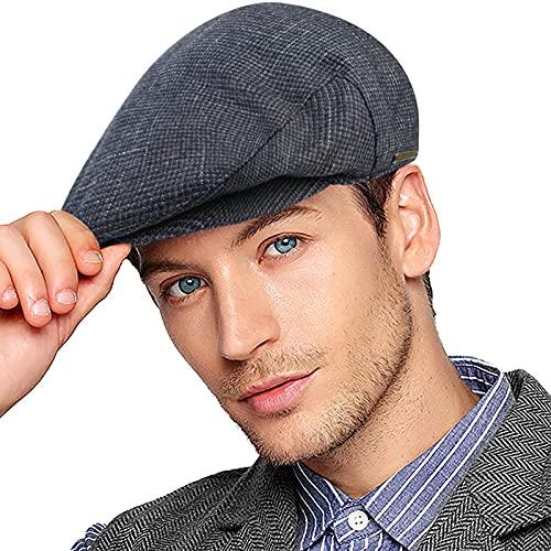 Wantonfy Gorra plana para hombre, sombrero de pico de pato, sombrero de hiedra, espiga de chico de periódicos de caza, gorra de tweed sombrero de Gatsby, Light Square, Taille unique