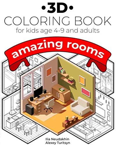 3D Coloring book for kids age 4-9 and adults. Amazing rooms.