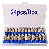 Gebildet 24 Piezas RG6 F-Tipo Coaxial de Compresión de Alambre de Cable, Conector Coaxial RG6, Coaxial Adaptador de Enchufe, para el Satélite y Televisión por Cable