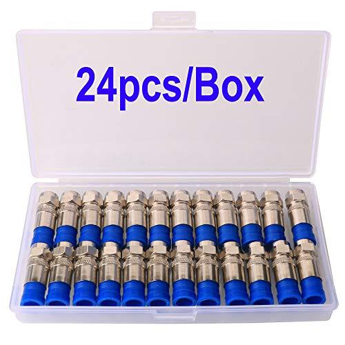 Gebildet 24 Stücke SAT F-Quick Mount Stecker, RG6 F Type Kompressionsstecker für Koaxial-Kabel, Antennenkabel, Satellitenkabel, Wasserdicht (Silver)