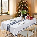 Essort Mantel Rectangular para Mesa PVC Hule Mantel Cuadrado para Comedor, Impermeable y Prueba de Aceite Vid Azul 137 x 220 cm