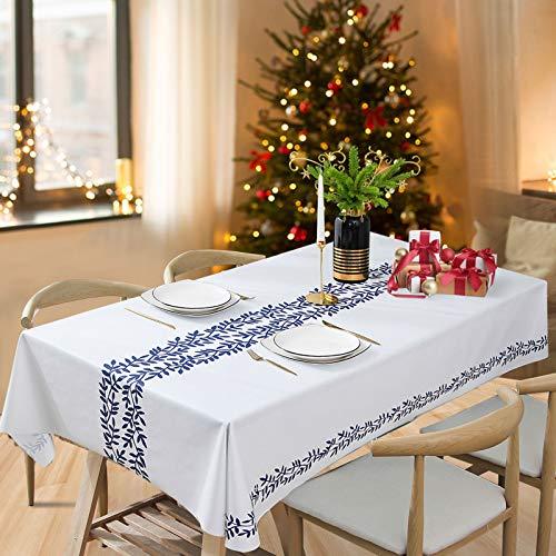 ESSORT Tovaglia Impermeabile 137x185cm Antimacchia Rettangolare PVC Facile da pulire Tovaglia per Cucina per Le Vacanze Cene in Famiglia (Vite Blu)