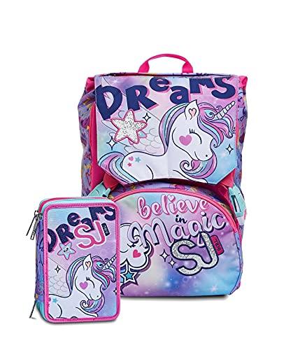 Zaino Schoolpack SJ Gang Animali Unicorno Estensibile + Astuccio 3 Zip Completo