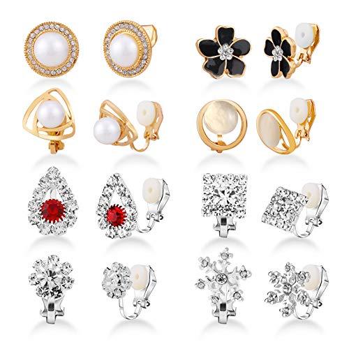 HIFOT 8 Paare Clip Ohrringe Ohrclips für Damen, Mode Blume Twist Knoten Rose Gold Fake Perlen Silber Schneeflocke Ohrklemme Schmuck Ohrlöcher Set Damen für Frauen Mädchen