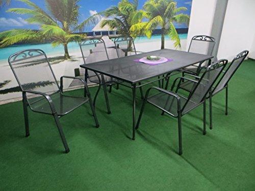 MFG 7-teilige Luxus Streckmetall Gartenmöbelgruppe RRR, Stapelsessel und Gartentisch 180x90 anthrazit, P21