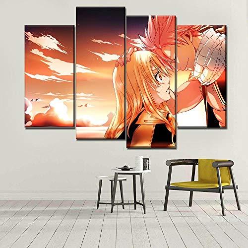 Lienzo Arte de la pared Decoración del hogar Pintura 4 piezas Anime Fairy Tail Lucy Natsu Dragneel Póster Imagen de fondo junto a la cama-30x60cmx2 30x80cmx2 Sin marco