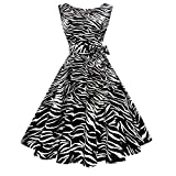 Hanpceirs Women's Boatneck Sleeveless Swing Vintage 1950s Cocktail Dress Zebra XL